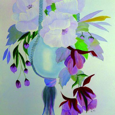 Hängevase mit weissen Blumen & Lilien, 2016, 60x80cm