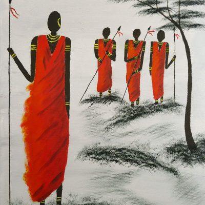 Vier Massai, 2012, 30x40cm