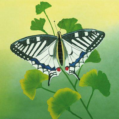 Schmetterling mit Ginkoblätter, 2013, 40x30cm