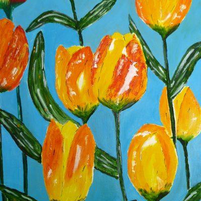 Tulpen (Spachtel), 2015, 30x40cm
