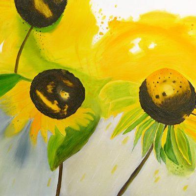 Drei Sonnenblumen, 2017, 90x60cm