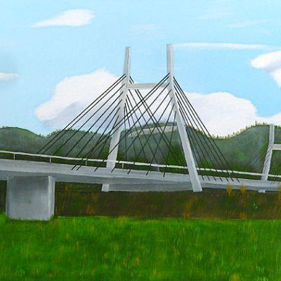 Schrägseilbrücke Diepoldsau, 2016, 100x40cm