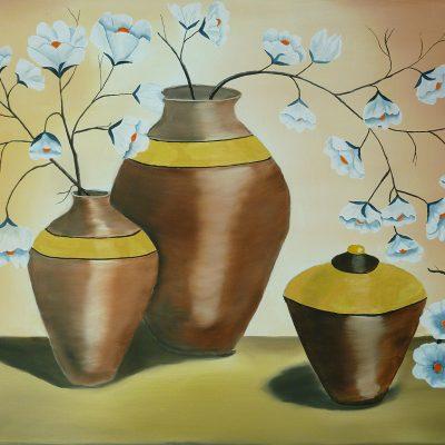 Antike Vasen mit Blumen, 2016, 60x80cm