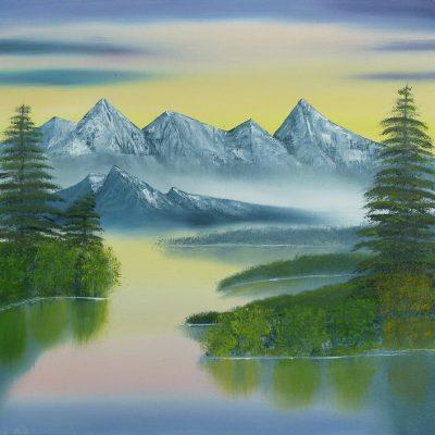 Berglandschaft mit See, 2014, 60x45cm