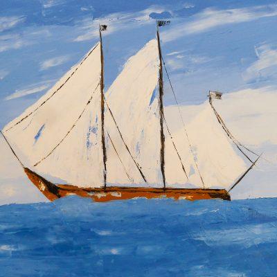 Segelschiff (Spachtel), 2014, 70x50cm