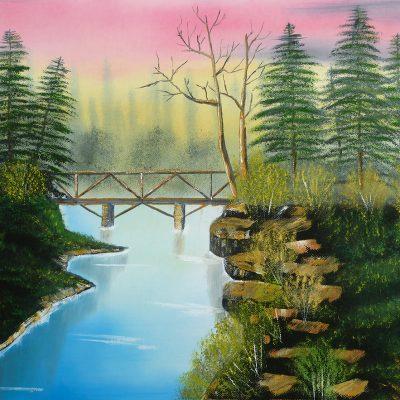 Fluss mit Brücke, 2013, 50x40cm