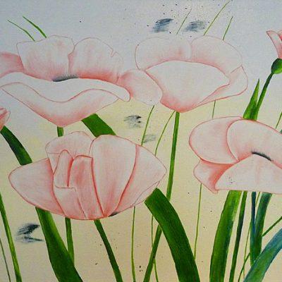 Vier weisse Mohnblüten, 2017, 50x100cm